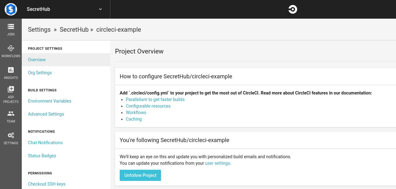 Go to the settings page in the CircleCI web app