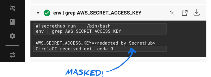 CircleCI log UI with AWS_SECRET_ACCESS_KEY value masked